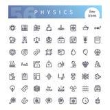 Línea iconos de la física fijados ilustración del vector