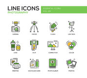 Línea iconos de la fotografía del diseño fijados libre illustration