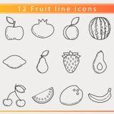 Línea iconos de la fruta Imagenes de archivo