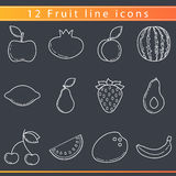 Línea iconos de la fruta Fotos de archivo