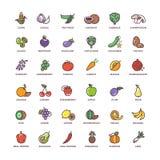Línea iconos de la fruta y verdura del vector con los elementos planos ilustración del vector