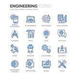 Línea iconos de la ingeniería stock de ilustración