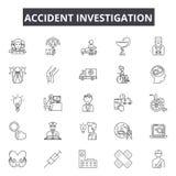 Línea iconos de la investigación de accidente Muestras Editable del movimiento Iconos del concepto: choque de coche, investigador stock de ilustración