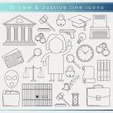 Línea iconos de la ley Foto de archivo