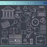 Línea iconos de la ley Imágenes de archivo libres de regalías