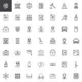 Línea iconos de la ley y de la justicia fijados Foto de archivo libre de regalías