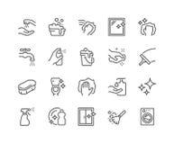 Línea iconos de la limpieza stock de ilustración