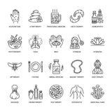 Línea iconos de la medicina alternativa Naturopathy, tratamiento tradicional, homeopatía, osteopatía, pescados herbarios y sangui libre illustration