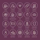 Línea iconos de la medicina alternativa Naturopathy, tratamiento tradicional, homeopatía, osteopatía, pescados herbarios y sangui stock de ilustración
