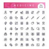 Línea iconos de la medicina fijados ilustración del vector