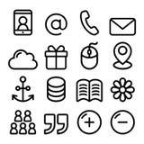 Línea iconos de la navegación del menú Web fijados - entre en contacto con la página, Internet stock de ilustración