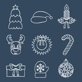 Línea iconos de la Navidad, escritos en tiza Vector Fotografía de archivo libre de regalías