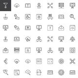 Línea iconos de la optimización del Search Engine fijados stock de ilustración