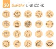 Línea iconos de la panadería Foto de archivo