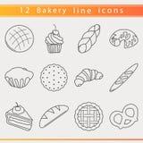 Línea iconos de la panadería Fotos de archivo libres de regalías