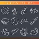 Línea iconos de la panadería Imagenes de archivo