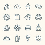 Línea iconos de la panadería Fotos de archivo