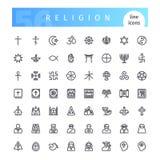 Línea iconos de la religión fijados Fotos de archivo