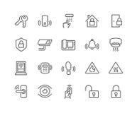 Línea iconos de la seguridad en el hogar