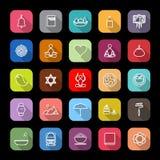 Línea iconos de la sociedad del zen con la sombra larga ilustración del vector