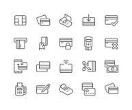 Línea iconos de la tarjeta de crédito stock de ilustración