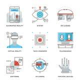 Línea iconos de la tecnología de la realidad virtual fijados Imagenes de archivo