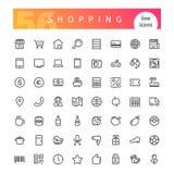 Línea iconos de las compras fijados Fotos de archivo libres de regalías