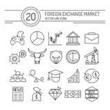 Línea iconos de las divisas Imágenes de archivo libres de regalías