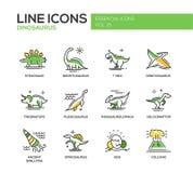 Línea iconos de las especies de los dinosaurios del diseño fijados libre illustration