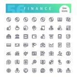 Línea iconos de las finanzas fijados stock de ilustración