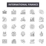 Línea iconos de las finanzas internacionales para la web y el diseño móvil Muestras Editable del movimiento Concepto del esquema  stock de ilustración