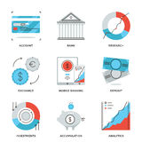 Línea iconos de las finanzas y de actividades bancarias fijados stock de ilustración