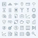 Línea iconos de las finanzas y de las actividades bancarias del dinero fijados Imagenes de archivo