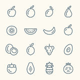 Línea iconos de las frutas ilustración del vector