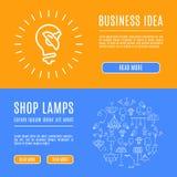 Línea iconos de las lámparas de la tienda de la bandera de la plantilla del diseño del arte Fotografía de archivo