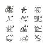 Línea iconos de las producciones de energía Diversos elementos del desarrollo de energía global Imágenes de archivo libres de regalías