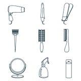 Línea iconos de los accesorios del pelo y de las herramientas del peluquero Imagen de archivo