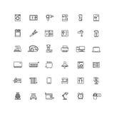 Línea iconos de los aparatos electrodomésticos del vector ilustración del vector