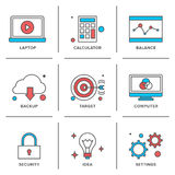 Línea iconos de los artículos del negocio fijados ilustración del vector