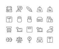 Línea iconos de los iconos del peso