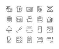 Línea iconos de los dispositivos de cocina stock de ilustración