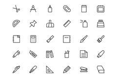 Línea iconos 1 de los efectos de escritorio Fotos de archivo