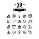 Línea iconos de los elementos de la educación fijados stock de ilustración