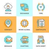 Línea iconos de los elementos del negocio fijados ilustración del vector