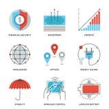 Línea iconos de los elementos del negocio global fijados ilustración del vector