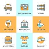 Línea iconos de los elementos del viaje de la ciudad fijados ilustración del vector