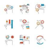 Línea iconos de los gestos del multi-touch fijados Imagen de archivo