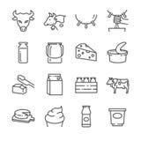 Línea iconos de los productos lácteos fijados libre illustration