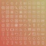 línea iconos de 100 vectores fijados Imagen de archivo