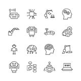 Línea iconos del AI de la inteligencia artificial Muestras de la mente del microprocesador del intelecto y del cyborg del robot Fotos de archivo libres de regalías